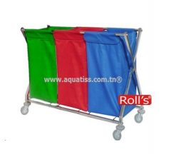 Chariot collecte linge X inox 03 sacs Roll's