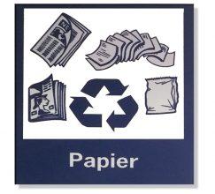 Logo poubelle sélective bleu déchets papier 10X10 cm