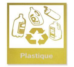 Logo poubelle sélective jaune déchets