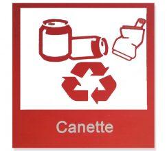 Logo poubelle sélective rouge déchets canette 10X10 cm aquatiss