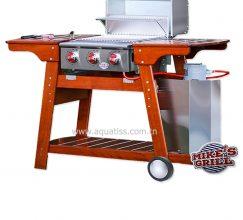 Barbecue gaz 3 brûleurs inox bois massif professionnel