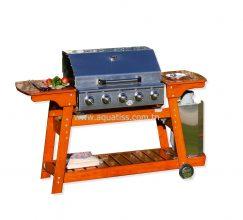 Barbecue gaz 4 brûleurs inox bois massif professionnel